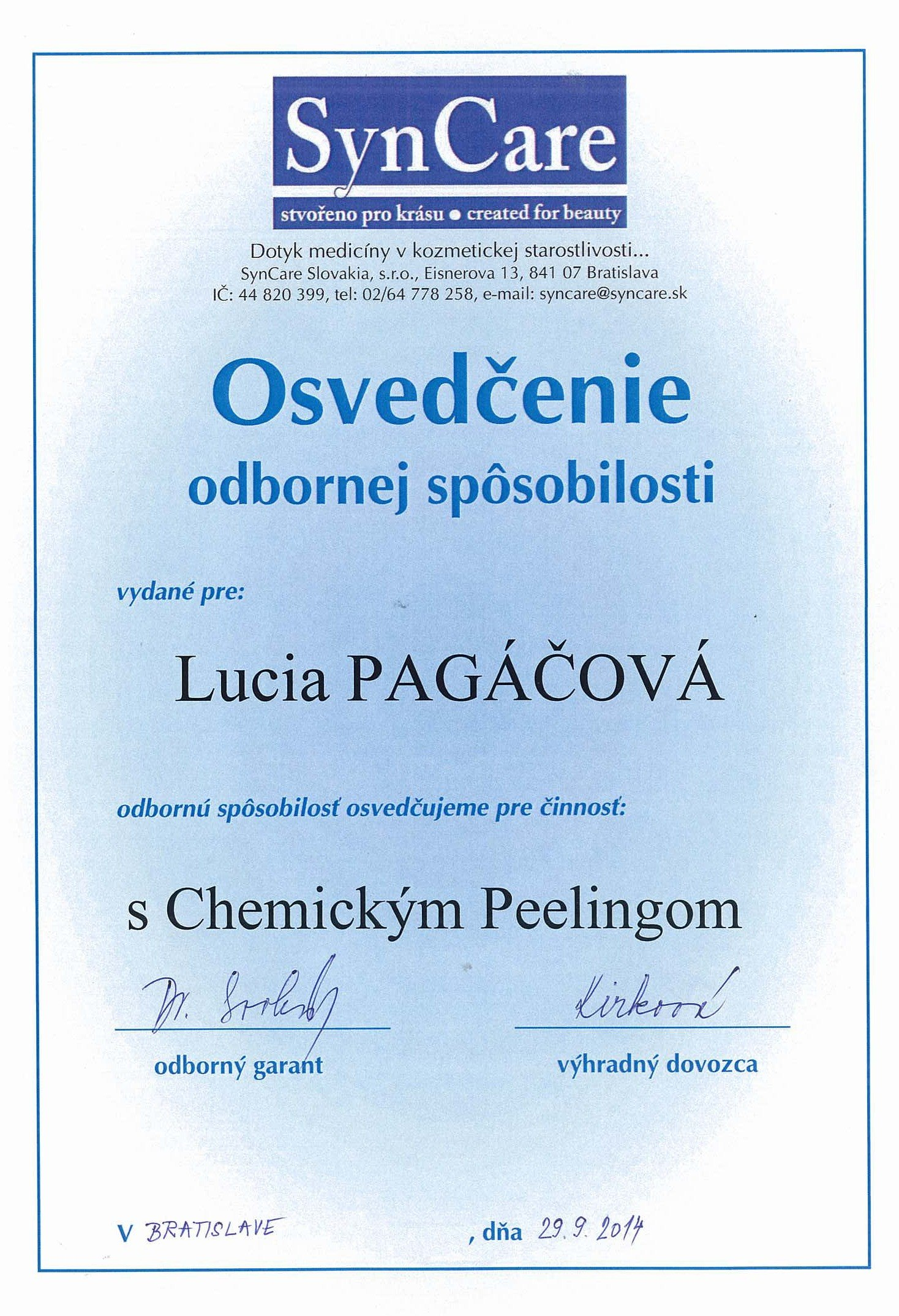 certifikat-chemisky-peeling-bratislava